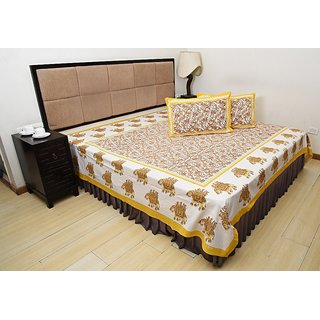 Bohomandala Traditional Rajasthani Jaipuri Elephant Cotton Double Besheet With 2 Pillow Covers - Yellow