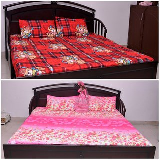VIPL PLyester Red  Pink 2 Double Bed Sheet with 4 Pillow Covers