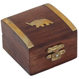 Craft Art India Beautiful Handmade Wooden Storage Box For Rings With Embossed Br Elephant