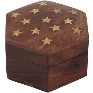Craft Art India Beautiful Handmade Hexagonal Wooden Storage Box For Rings With Embossed Brass Stars