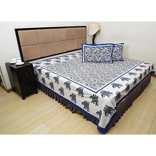 Bohomandala Traditional Rajasthani Jaipuri Elephant Cotton Double Besheet With 2 Pillow Covers - Blue