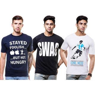 Enquotism Men's Multicolor Round Neck T-shirt(Pack Of 3)