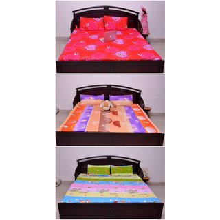 VIPL Polycot Attractive Designer Bedsheet Combo Of 3 With 6 Pillow Cover