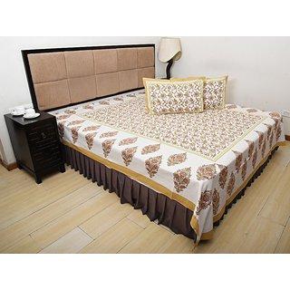 Bohomandala Traditional Rajasthani Jaipuri Paisley Cotton Double Besheet With 2 Pillow Covers - Mustard