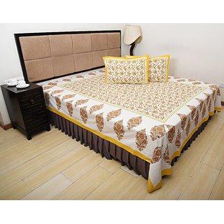 Bohomandala Traditional Rajasthani Jaipuri Paisley Cotton Double Besheet With 2 Pillow Covers - Yellow