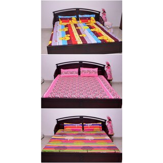 VIPL Unique Multicolor Printed Polycott Bedsheet Combo Set of 3