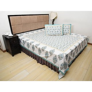 Bohomandala Traditional Rajasthani Jaipuri Paisley Cotton Double Besheet With 2 Pillow Covers - Pastel