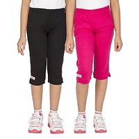 OCEAN RACE Girls Stylish Cotton Capris (3/4 Th Pant)-Pack of 2-HOT PINK  BLACK