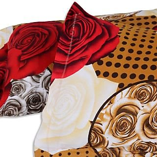 Vivid Roses Cotton Double Bedsheet with 2 Pillow Covers - Cream