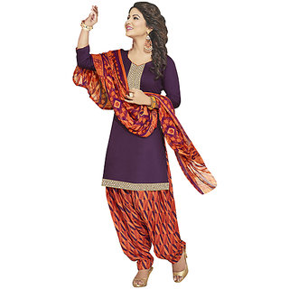 N FashionsPurple Glace Cotton Printed Work Patiala Suits