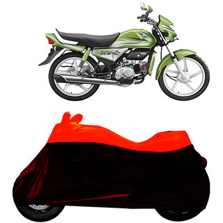 Superior Quality Bike Body Cover Orange and Black for Hero Honda HF Deluxe ECO