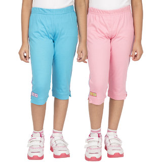 OCEAN RACE Girls Stylish Cotton Capris (3/4 Th Pant)-Pack of 2- AQUA BLUE / LIGHT PINK