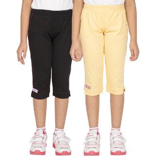 OCEAN RACE Girls Stylish Cotton Capris (3/4 Th Pant)-Pack of 2-BLACKYELLOW