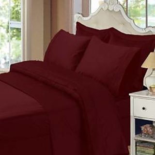 ItalianHome Collections 3Pc Duvet Set 600 Thread Count Double 100 Egyptian Cotton Burgundy Solid By Hothaat