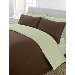 5Pc Reversible Duvet/Razai CoverSet 300 Thread Count Twin 100 Egyptian Cotton Chocolate/Sage Solid By Hothaat