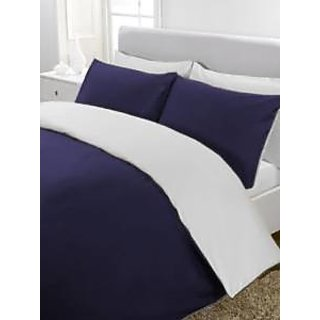 5Pc Reversible Duvet/Razai CoverSet 300 Thread Count Twin 100 Egyptian Cotton Navy Blue/White Solid By Hothaat