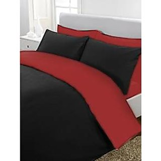 5Pc Reversible Duvet/Razai CoverSet 600 Thread Count Queen 100 Egyptian Cotton Black/Burgundy Solid By Hothaat
