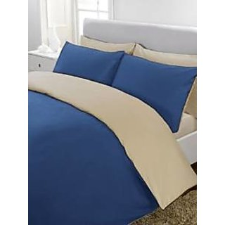 5Pc Reversible Duvet/Razai CoverSet 600 Thread Count Twin 100 Egyptian Cotton Egyptian Blue/Taupe Solid By Hothaat