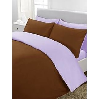 5Pc Reversible Duvet/Razai CoverSet 400 Thread Count Twin Xl 100 Egyptian Cotton Chocolate/Lilac Solid By Hothaat