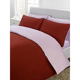 5Pc Reversible Duvet/Razai CoverSet 400 Thread Count Twin 100 Egyptian Cotton Burgundy/Lilac Solid By Hothaat