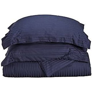 Classic Hotel Quality 1Pc Duvet Cover 300 Thread Count Queen 100 Egyptian Cotton Navy Blue Stripe By Hothaat