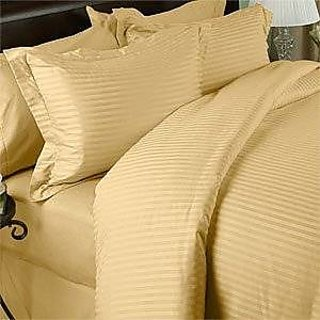 Classic Hotel Quality 1Pc Duvet Cover 400 Thread Count Queen 100 Egyptian Cotton Gold Stripe By Hothaat