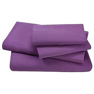 Super Soft And Elegant 4Pc Sheet Set 300 Thread Count Expanded Queen 100 Pima Cotton Purple Solid By Hothaat