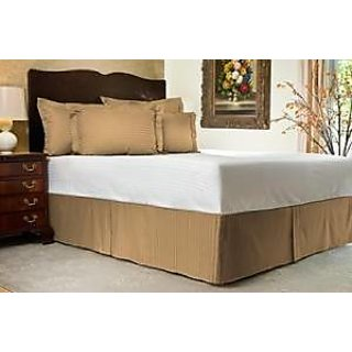 Super Soft And Elegant 1Pc Bed Skirt With 7 Drop Length 400 Thread Count King 100 Egyptian Cotton Taupe Stripe By Hothaat