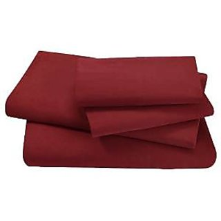 Super Soft And Elegant 4Pc Sheet Set 500 Thread Count Expanded Queen 100 Organic Cotton Burgundy Solid By Hothaat