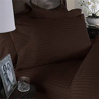 Super Soft And Elegant 4Pc Sheet Set 300 Thread Count King 100 Pima Cotton Chocolate Stripe By Hothaat