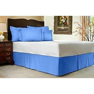 Super Soft And Elegant 1Pc Bed Skirt With 8 Drop Length 500 Thread Count King 100 Egyptian Cotton Blue Stripe By Hothaat