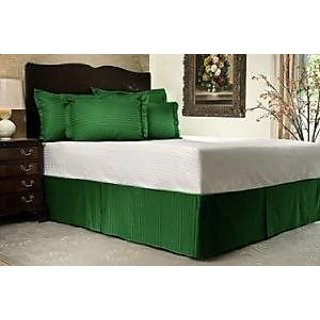 Super Soft And Elegant 1Pc Bed Skirt With 8 Drop Length 500 Thread Count King 100 Egyptian Cotton Moss Stripe By Hothaat