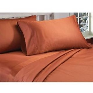Super Soft And Elegant 4Pc Sheet Set 300 Thread Count Split King 100 Pima Cotton Brick Red Solid By Hothaat