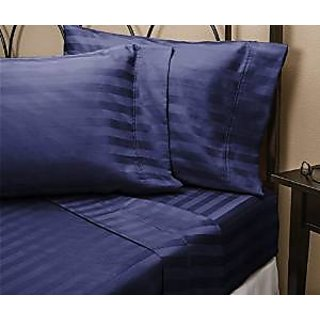 Super Soft And Elegant 4Pc Sheet Set 800 Thread Count Expanded Queen 100 Egyptian Cotton Navy Blue Stripe By Hothaat