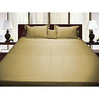 Soft Linen Collections 4Pc Fitted Sheet With Cushion Cover Having 12 Inch Deep Pocket 500 Thread Count Single 100 Egyptian Cotton Beige Stripe By Hothaat