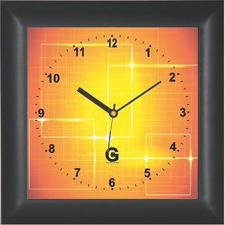 Go Hooked Designer Wall Clock with Glass - PLAS-SQRBLACK-13