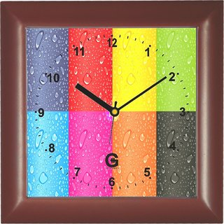 Go Hooked Designer Wall Clock with Glass - PLASSQRBROWN-4