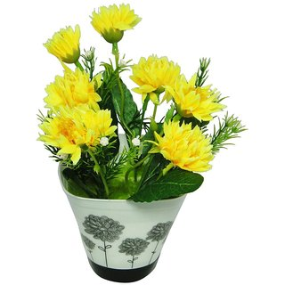 Go Hooked Yellow  Green Artificial Flowers with Pot - GRDPWTYLFLWRBIGBDI