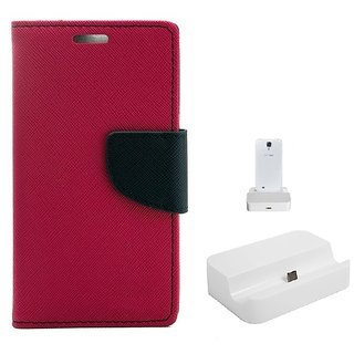 YGS Diary Wallet Case Cover  For Lenovo Vibe K5 Plus -Pink With Docking Station