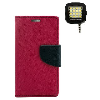 YGS Diary Wallet Case Cover  For Lenovo Vibe K5 Plus -Pink With Photo Enhancing Flash Light