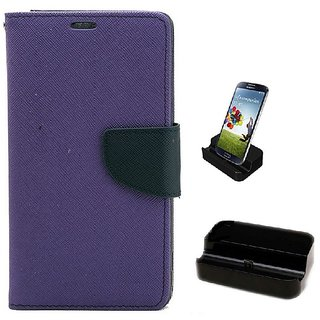 YGS Diary Wallet Case Cover  For Lenovo Vibe K5 Plus -Purple With Docking Station