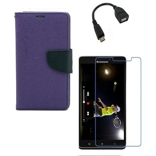 YGS Diary Wallet Case Cover  For Lenovo Vibe K5 Plus -Purple With Tempered Glass and Micro OTG