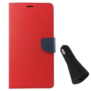 YGS Diary Wallet Case Cover  For Lenovo Vibe K5 Plus -Red With Dual Port USB Car Charger