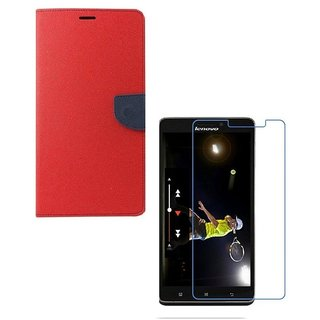 YGS Diary Wallet Case Cover  For Lenovo Vibe K5 Plus -Red With Tempered Glass