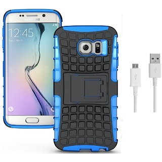 YGS Tough Rugged Dual Layer Back Case with Kickstand for Samsung Galaxy S7 Edge-Blue With USB Data Cable