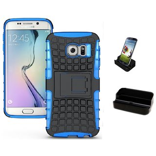 YGS Tough Rugged Dual Layer Back Case with Kickstand for Samsung Galaxy S7 Edge-Blue With Docking Station Black