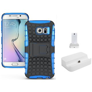 YGS Tough Rugged Dual Layer Back Case with Kickstand for Samsung Galaxy S7 Edge-Blue With Docking Station White