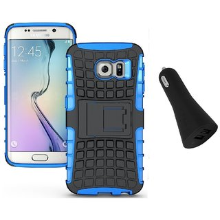 YGS Tough Rugged Dual Layer Back Case with Kickstand for Samsung Galaxy S7 Edge-Blue With Dual Port Car Charger Black