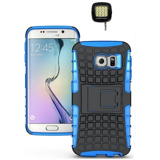 YGS Tough Rugged Dual Layer Back Case with Kickstand for Samsung Galaxy S7 Edge-Blue With Photo Enhancing Flash Light