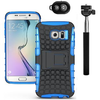 YGS Tough Rugged Dual Layer Back Case with Kickstand for Samsung Galaxy S7 Edge-Blue With Extendable Selfie Stick and  Bluetooth Shutter Remote